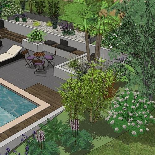 Aménager le talus bordant la piscine existante de façon moderne - UZEL