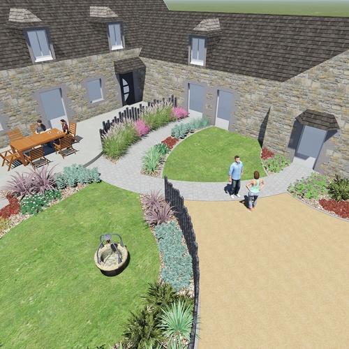 Création d''une terrasse et d''un jardin - Langueux