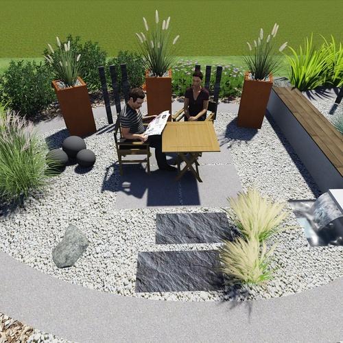 Plan 3D - Aménagement espace détente - Langueux