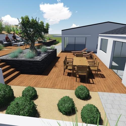 Plan 3D d''un jardin avec dénivelé important