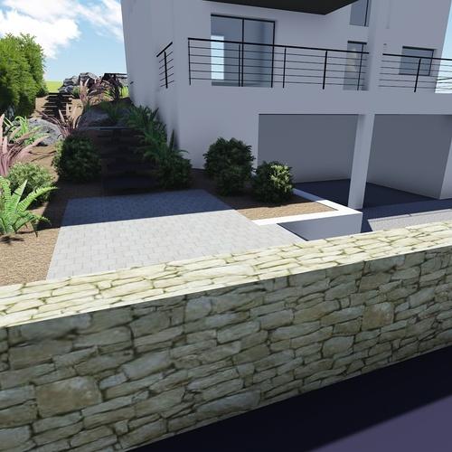 Plan 3D de jour et de nuit - Aménagement espace extérieur - Plérin
