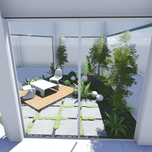 Plan 3D d''un patio