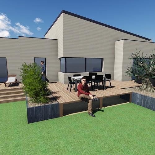 Plan 3D d''une terrasse sur pilotis