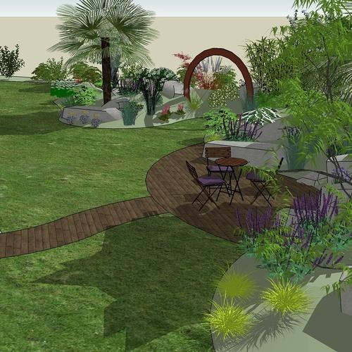 Suite à la division du terrain, l'objectif est de re- paysager le jardin restant en tenant compte des nouvelles limites en utilisant des blocs de roches existants. - BOBITAL