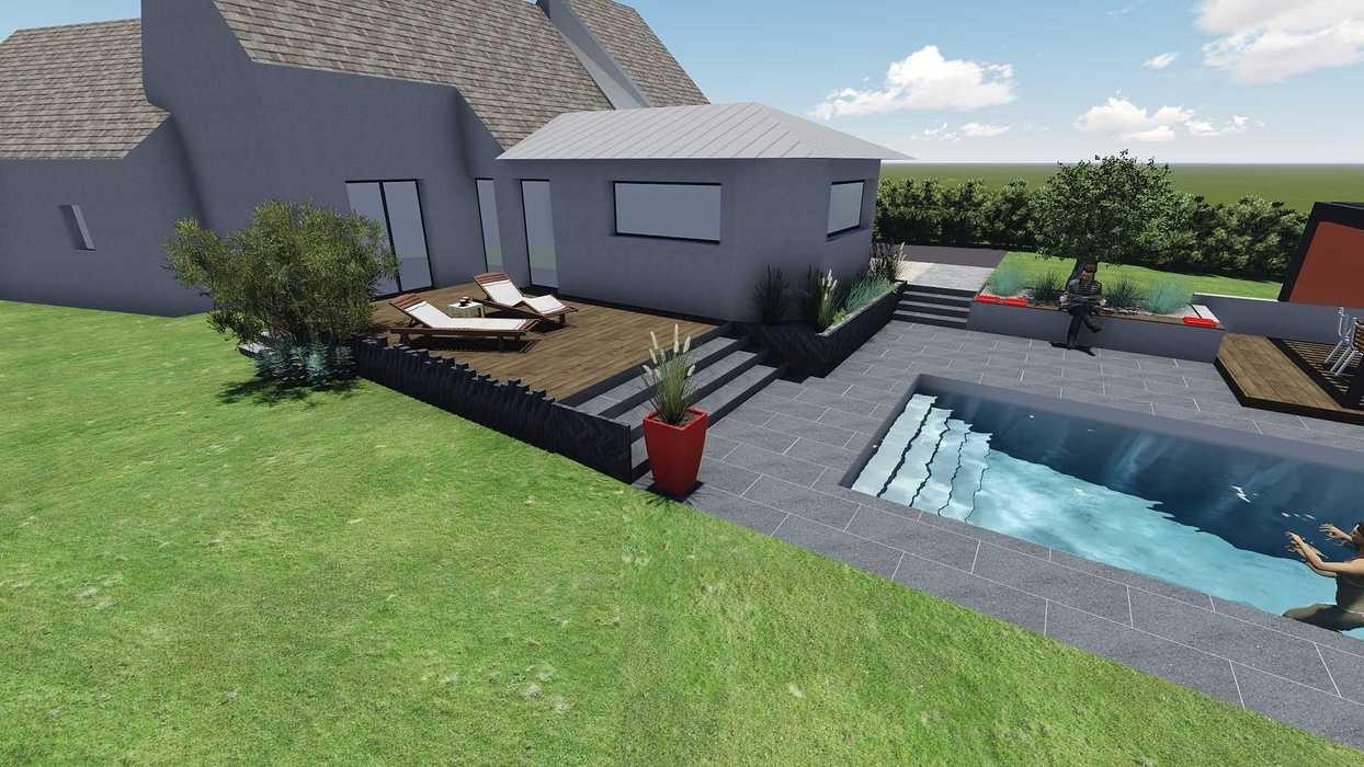 Différentes versions de plan 3D de l''aménagement de l''espace extérieur - Bégard 10