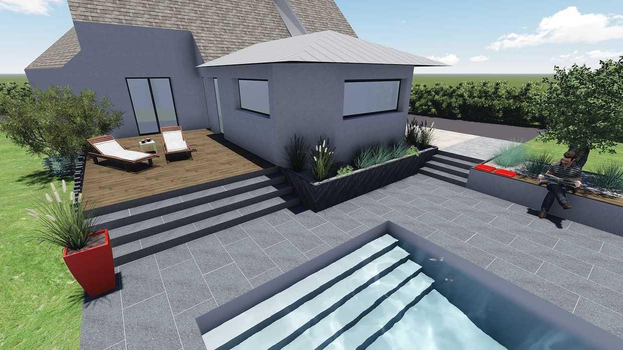 Différentes versions de plan 3D de l''aménagement de l''espace extérieur - Bégard 11