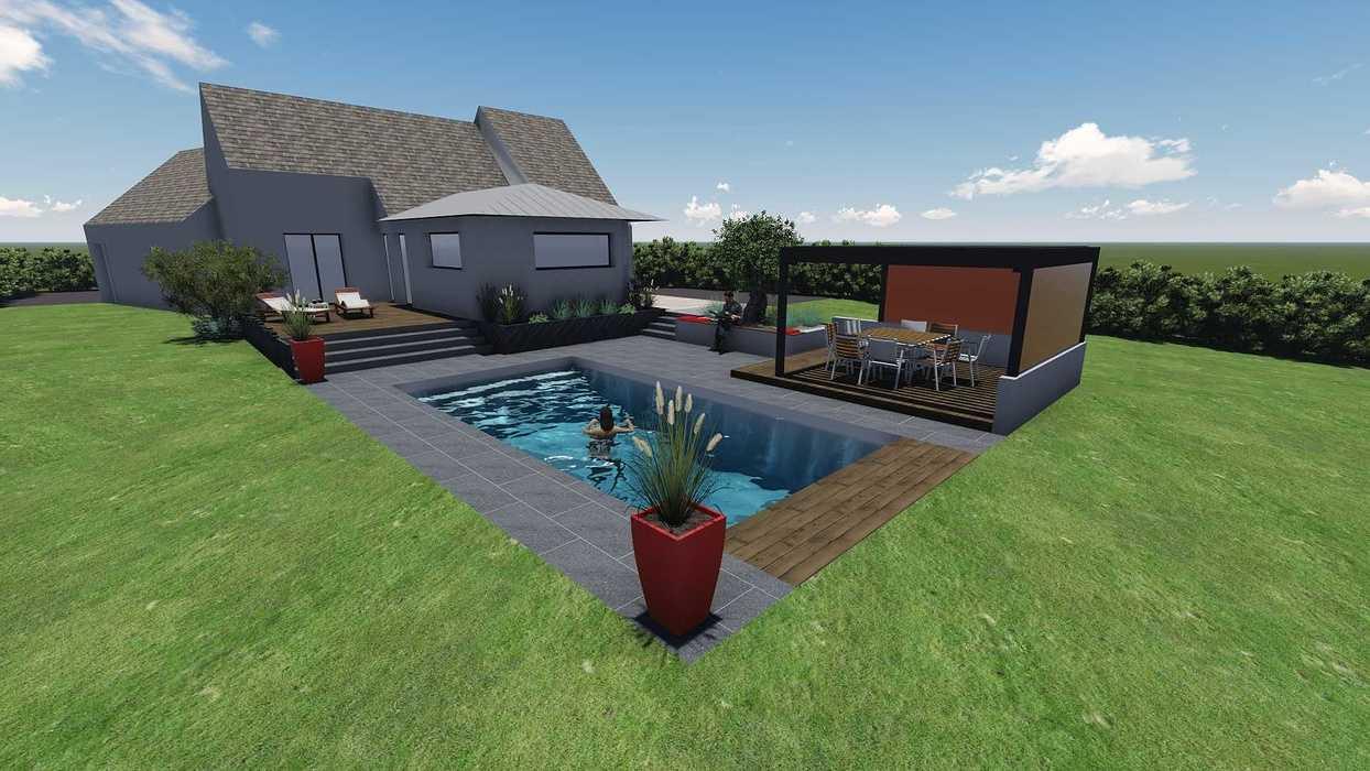 Différentes versions de plan 3D de l''aménagement de l''espace extérieur - Bégard 13