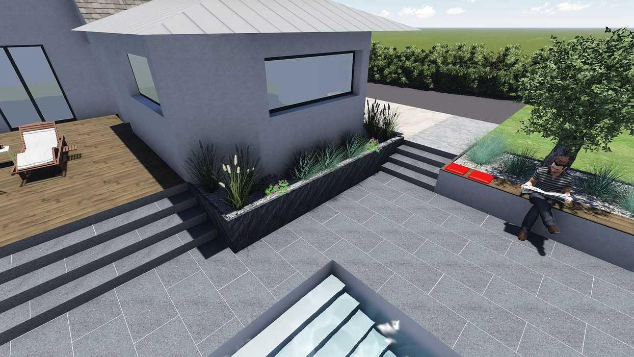 Différentes versions de plan 3D de l''aménagement de l''espace extérieur - Bégard 15