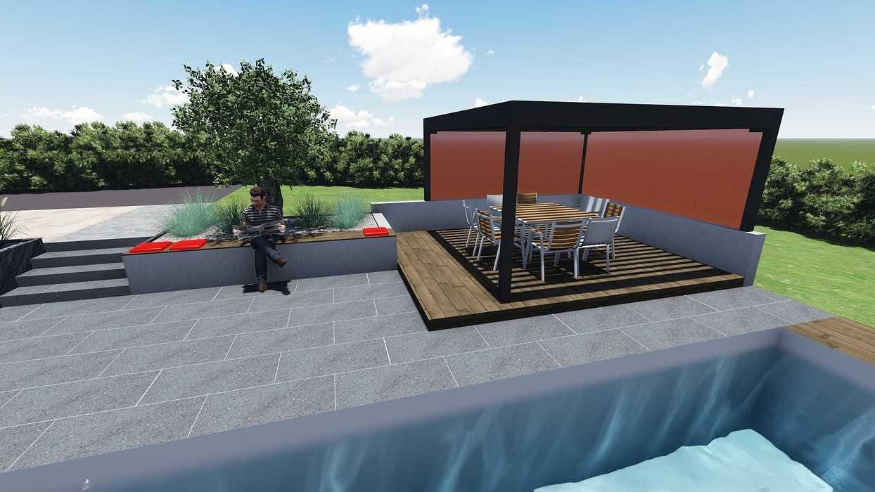Différentes versions de plan 3D de l''aménagement de l''espace extérieur - Bégard 16