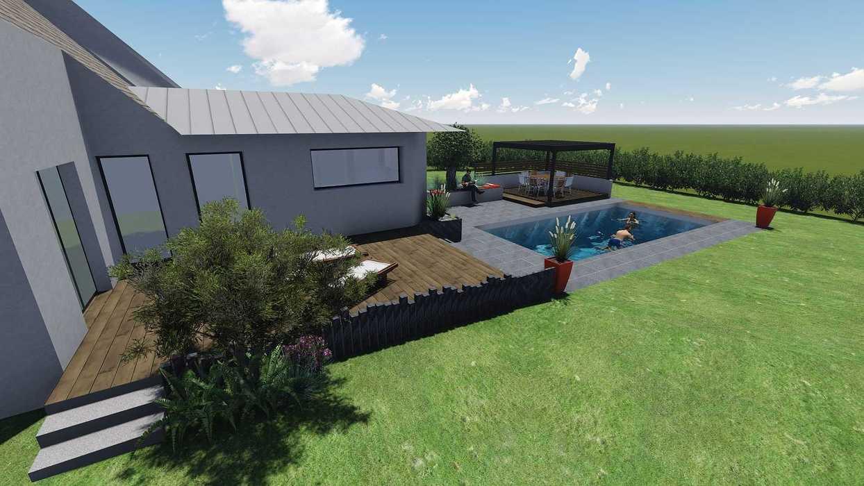 Différentes versions de plan 3D de l''aménagement de l''espace extérieur - Bégard 7