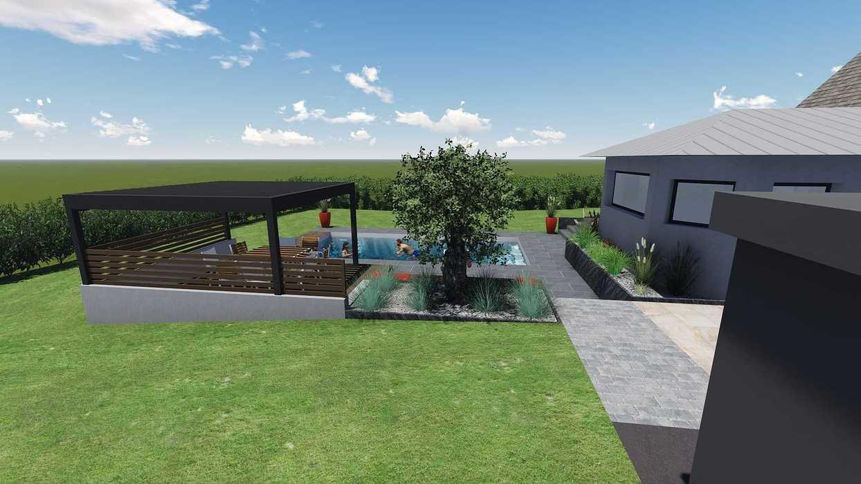 Différentes versions de plan 3D de l''aménagement de l''espace extérieur - Bégard 8