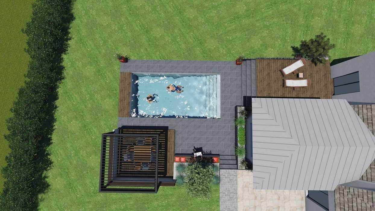 Différentes versions de plan 3D de l''aménagement de l''espace extérieur - Bégard 9