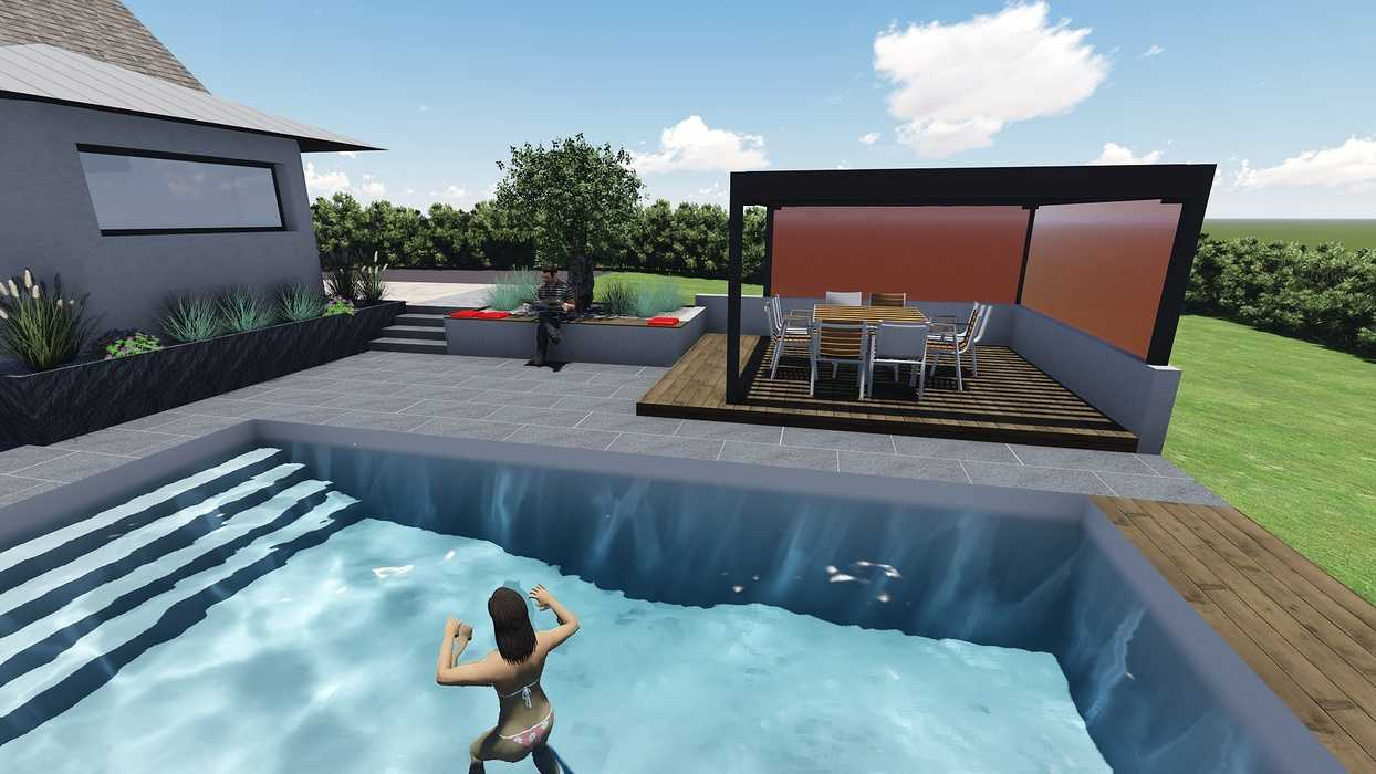 Différentes versions de plan 3D de l''aménagement de l''espace extérieur - Bégard 0