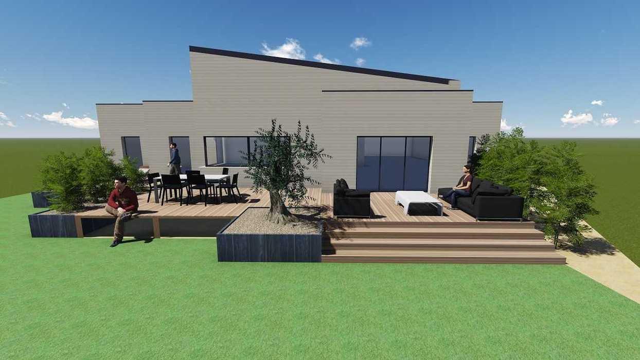 Plan 3D d''une terrasse sur pilotis pers3