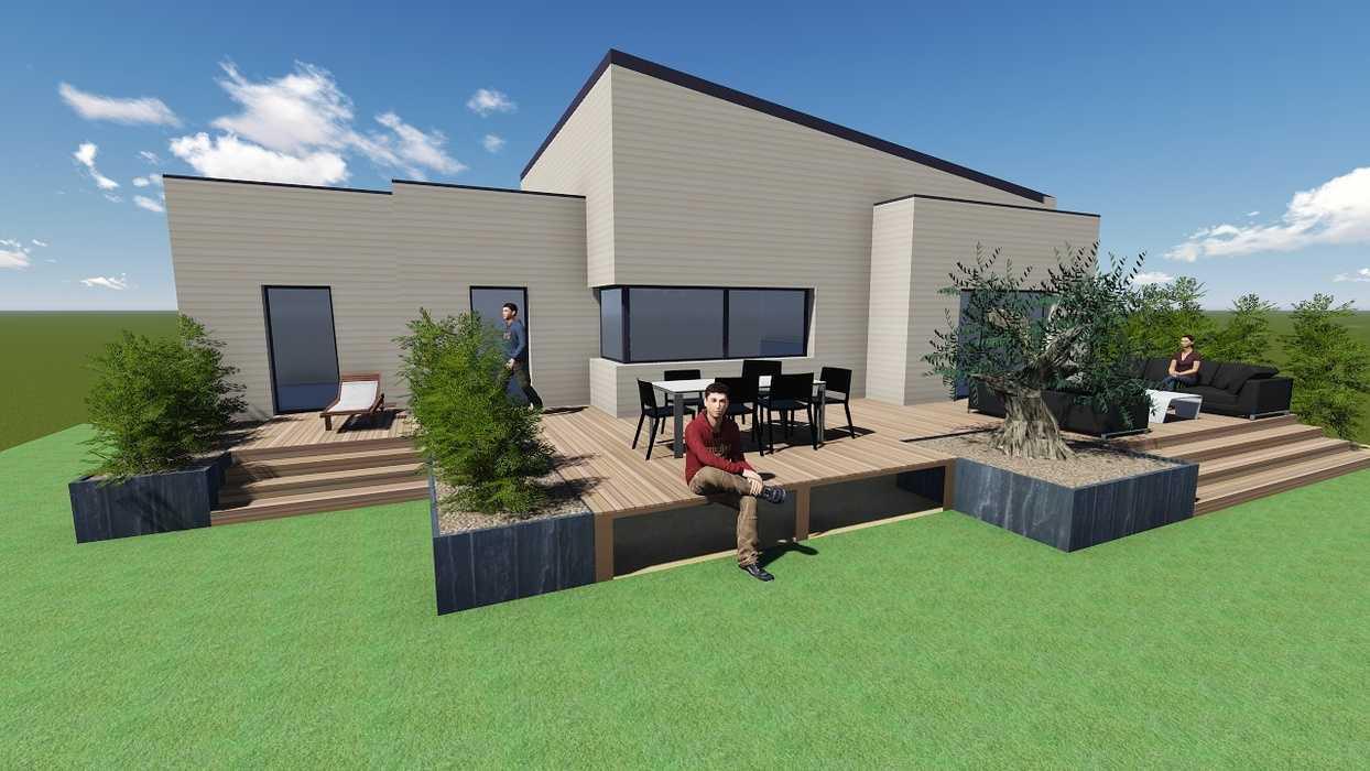 Plan 3D d''une terrasse sur pilotis 0