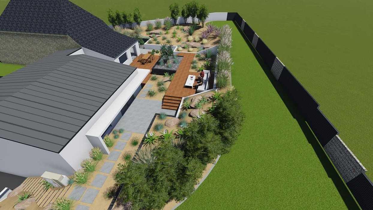 Plan 3D d''un jardin avec dénivelé important pers11