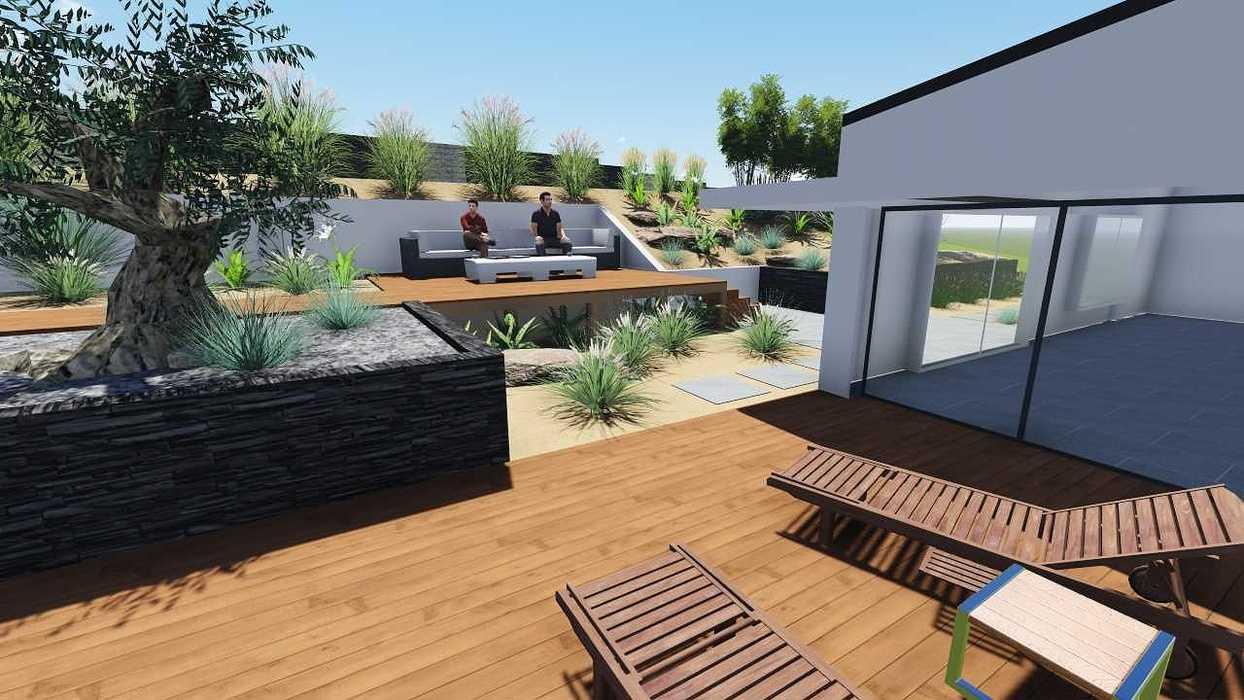 Plan 3D d''un jardin avec dénivelé important pers6