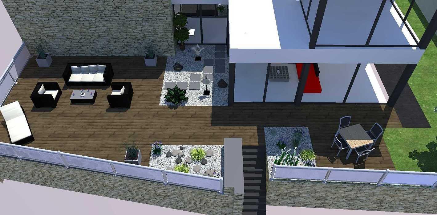 Créer un jardin dans un style moderne permettant d'intégrer l'entrée et le parking tout en isolant le coin repas - PLERIN jardin1