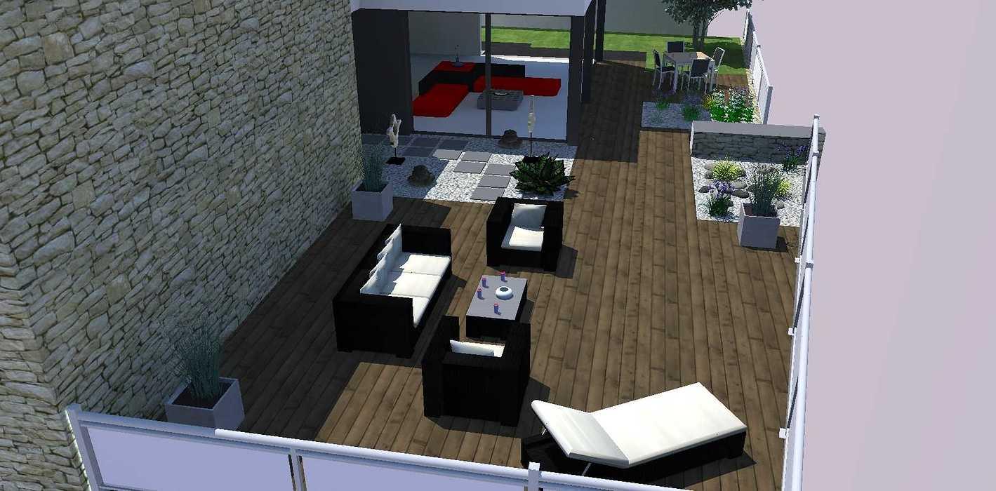 Créer un jardin dans un style moderne permettant d'intégrer l'entrée et le parking tout en isolant le coin repas - PLERIN jardin2