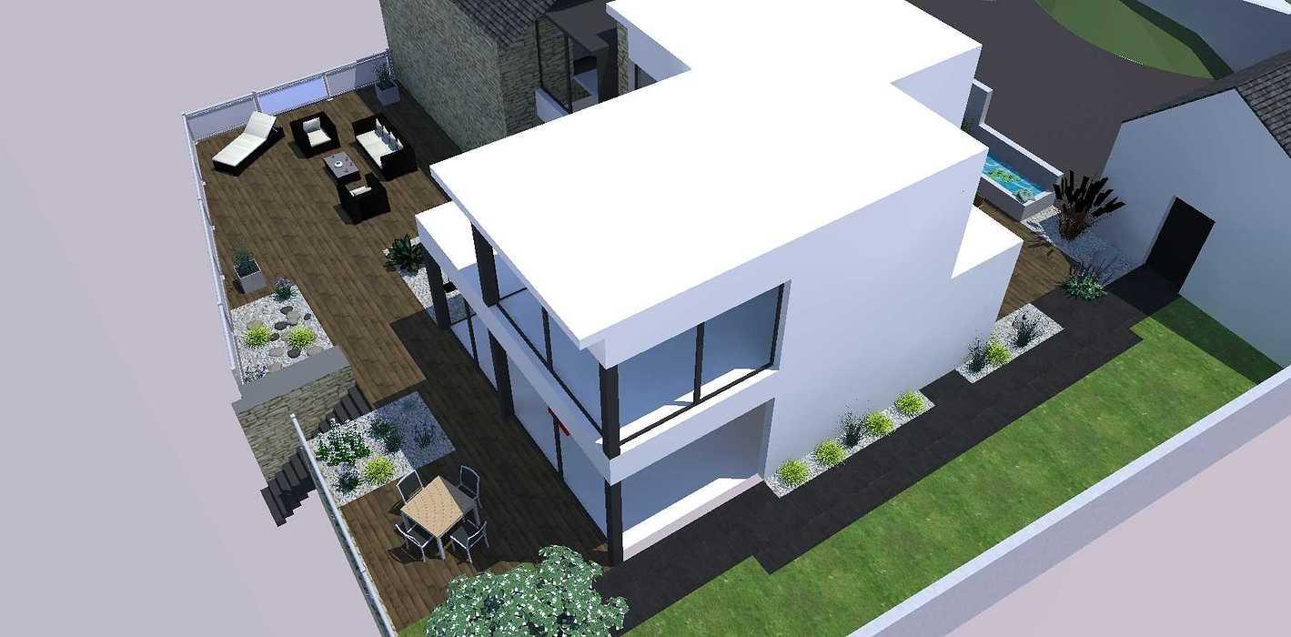 Créer un jardin dans un style moderne permettant d'intégrer l'entrée et le parking tout en isolant le coin repas - PLERIN jardin3