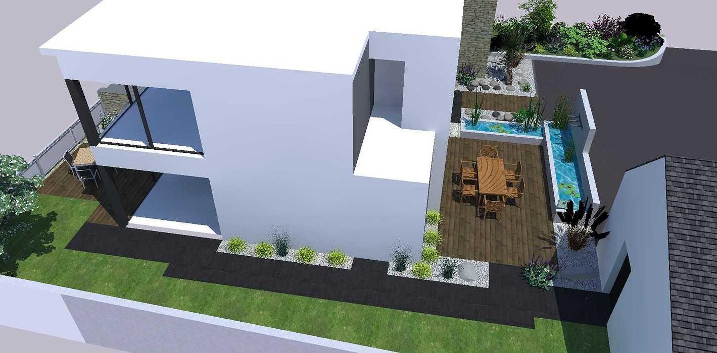 Créer un jardin dans un style moderne permettant d'intégrer l'entrée et le parking tout en isolant le coin repas - PLERIN jardin4