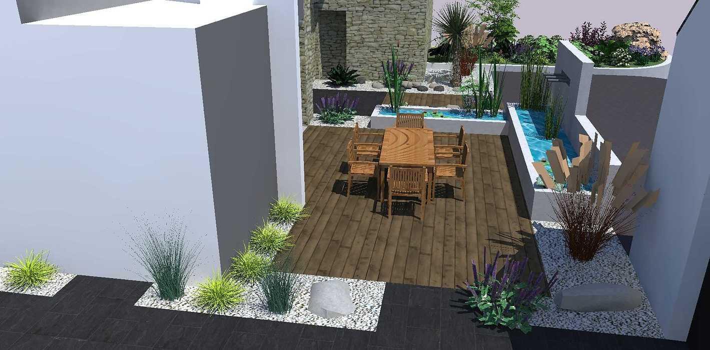 Créer un jardin dans un style moderne permettant d'intégrer l'entrée et le parking tout en isolant le coin repas - PLERIN jardin5