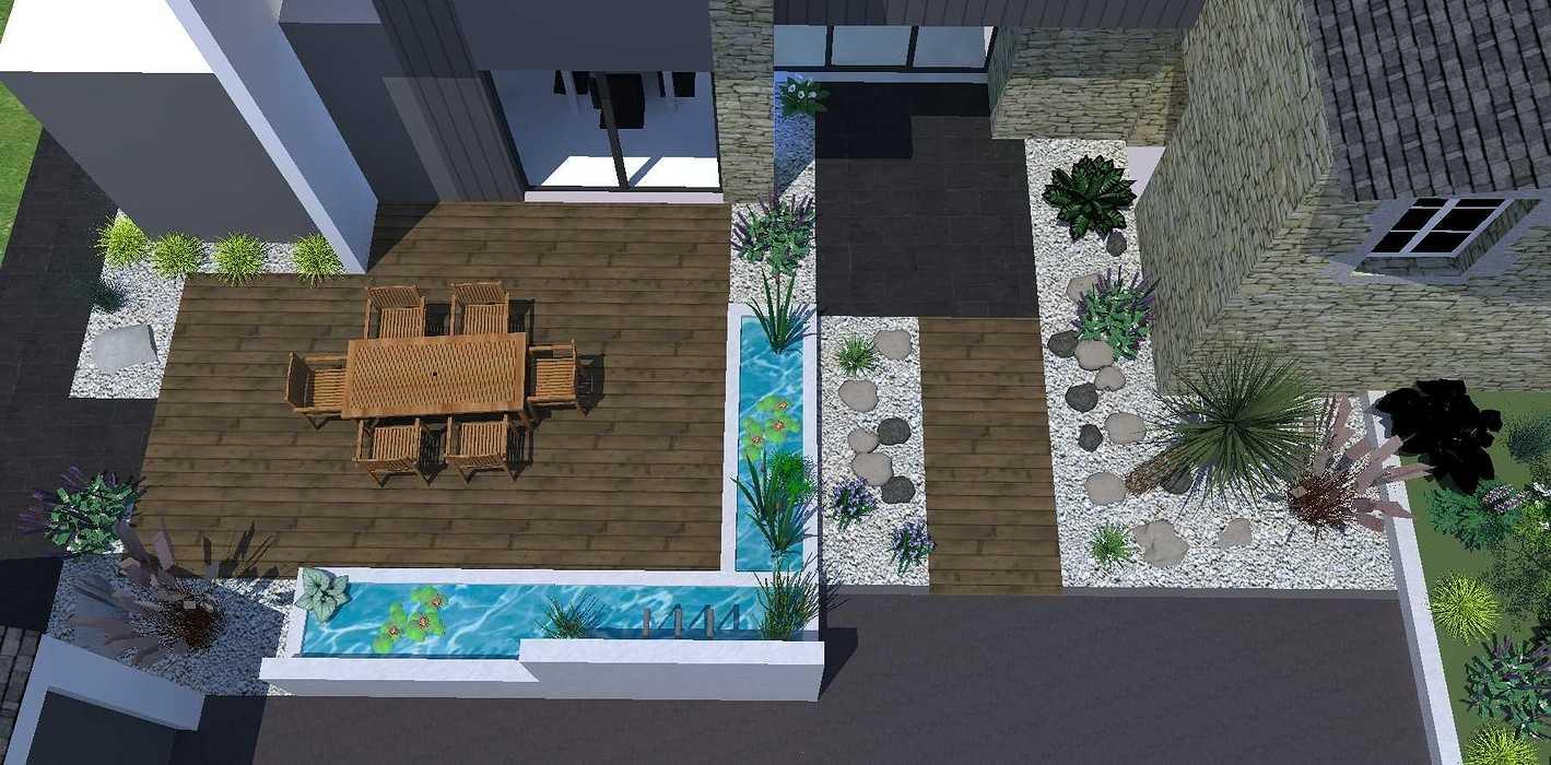 Créer un jardin dans un style moderne permettant d'intégrer l'entrée et le parking tout en isolant le coin repas - PLERIN jardin6