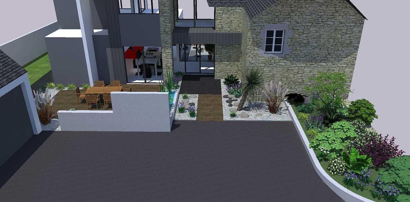 Créer un jardin dans un style moderne permettant d'intégrer l'entrée et le parking tout en isolant le coin repas - PLERIN jardin7