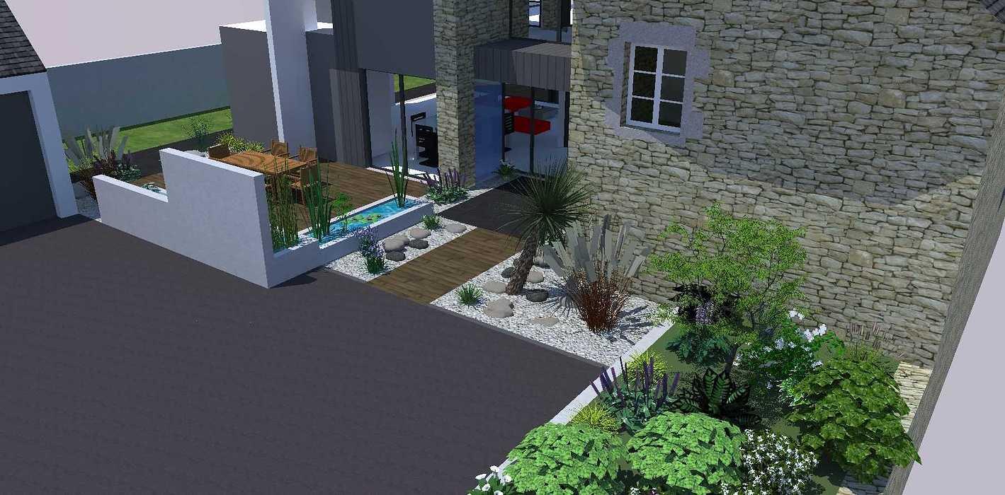 Créer un jardin dans un style moderne permettant d'intégrer l'entrée et le parking tout en isolant le coin repas - PLERIN jardin8