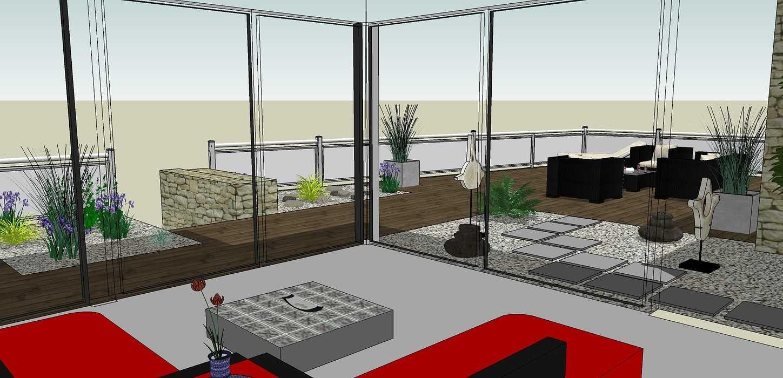 Créer un jardin dans un style moderne permettant d'intégrer l'entrée et le parking tout en isolant le coin repas - PLERIN 0