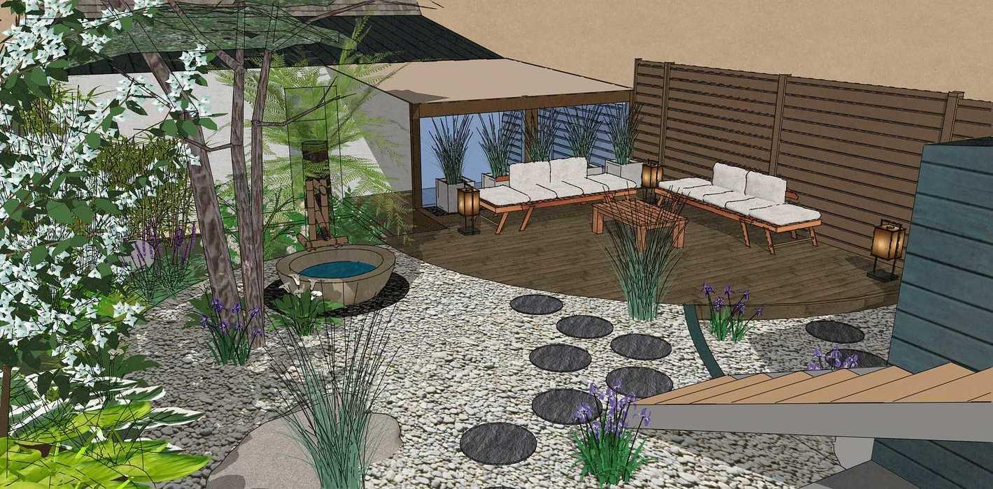 Transformer un petit jardin de ville encaissé en jardin d'inspiration japonaise. – SAINT-BRIEUC coursin1