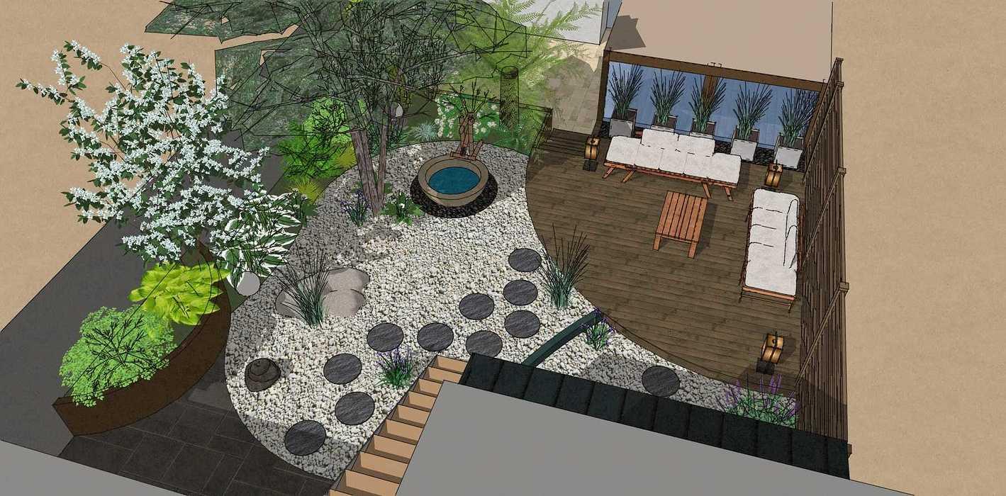 Transformer un petit jardin de ville encaissé en jardin d'inspiration japonaise. – SAINT-BRIEUC coursin2