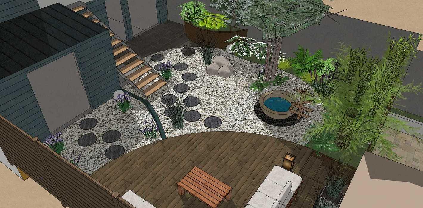 Transformer un petit jardin de ville encaissé en jardin d'inspiration japonaise. – SAINT-BRIEUC coursin4