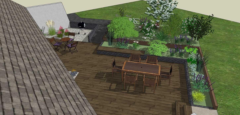 Modifier la terrasse aux abords des pièces de vie en utilisant les niveaux du terrain existant. - LANGUEUX 0