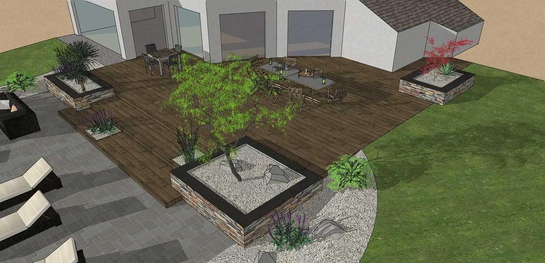 Création d'une terrasse en bois entre la maison et une terrasse – LAMBALLE oleron33
