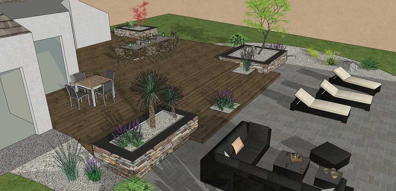 Création d'une terrasse en bois entre la maison et une terrasse – LAMBALLE oleron35