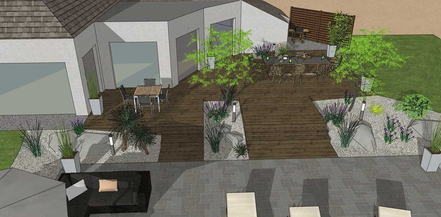 Création d'une terrasse en bois entre la maison et une terrasse – LAMBALLE oleron1