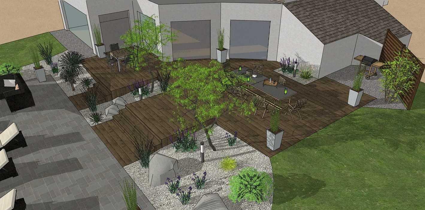 Création d'une terrasse en bois entre la maison et une terrasse – LAMBALLE oleron2