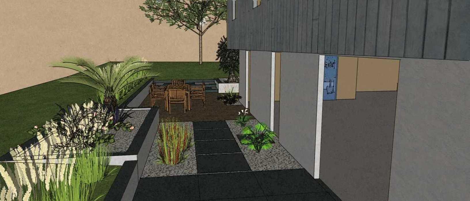 Terrasses communicantes sur différents niveaux renault3d3