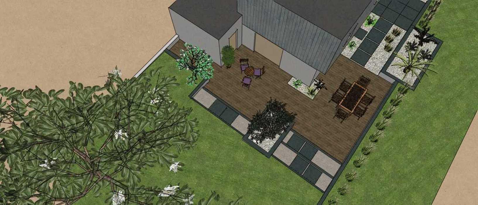 Terrasses communicantes sur différents niveaux renault3d6