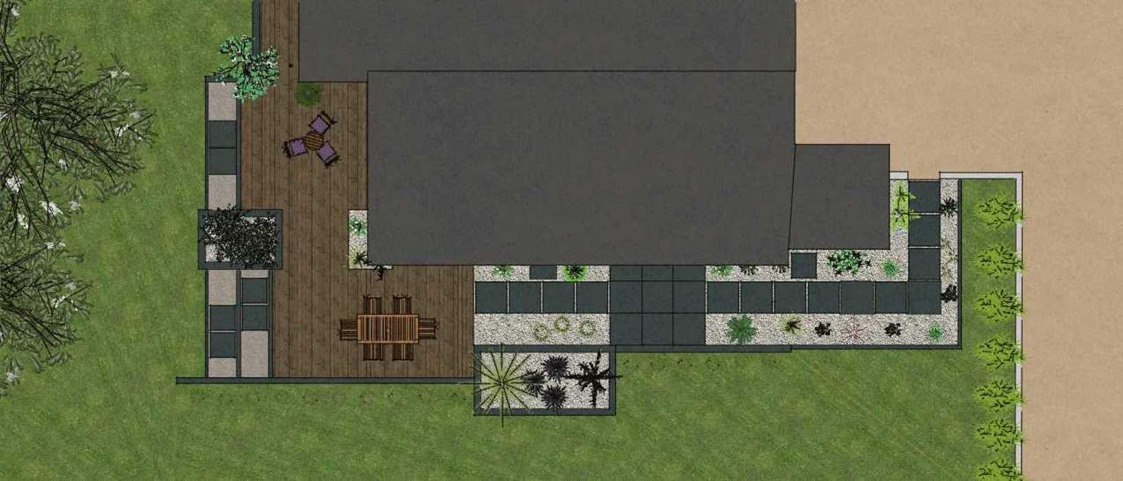 Terrasses communicantes sur différents niveaux renault3d8