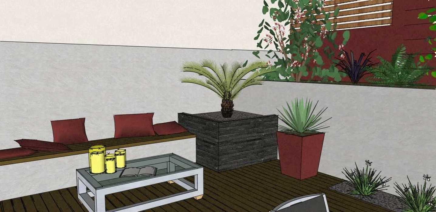 am nager une petite arri re cour tr s encaiss e. Black Bedroom Furniture Sets. Home Design Ideas
