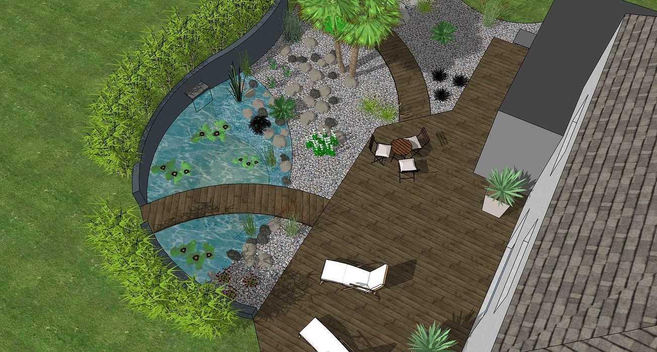 Bassin, terrasse et plantations exotiques jamoteau3