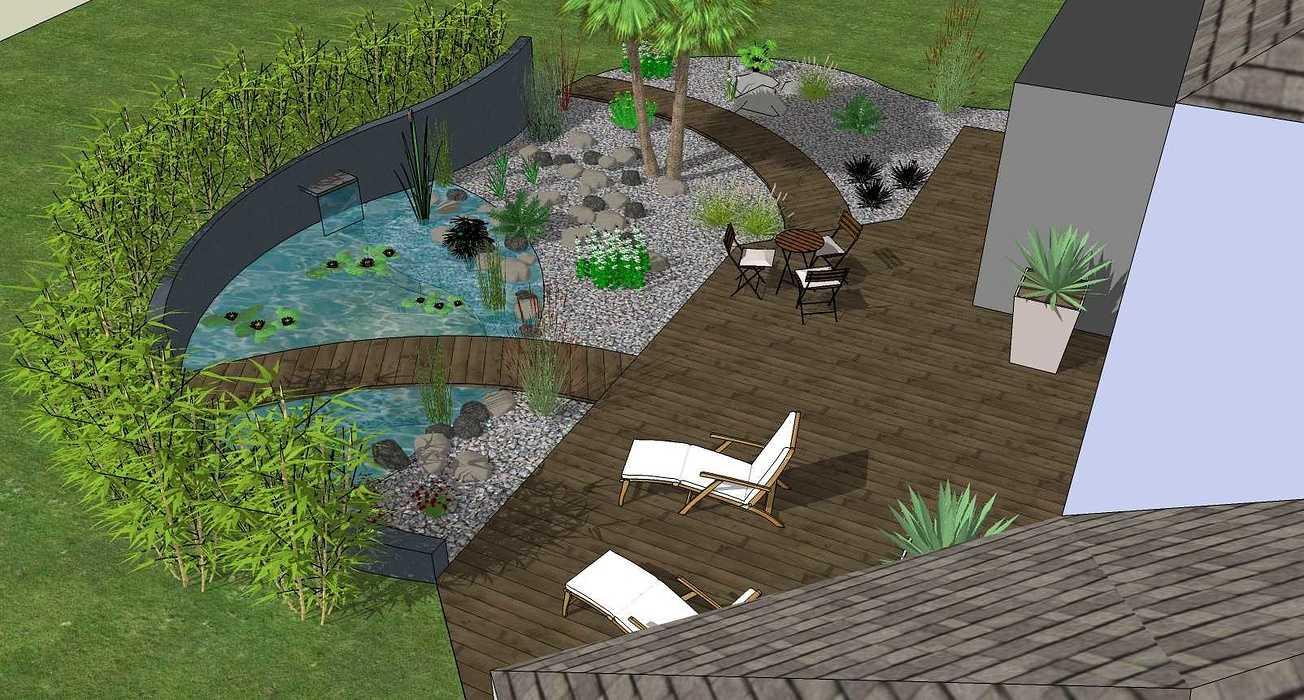 Bassin, terrasse et plantations exotiques jamoteau4