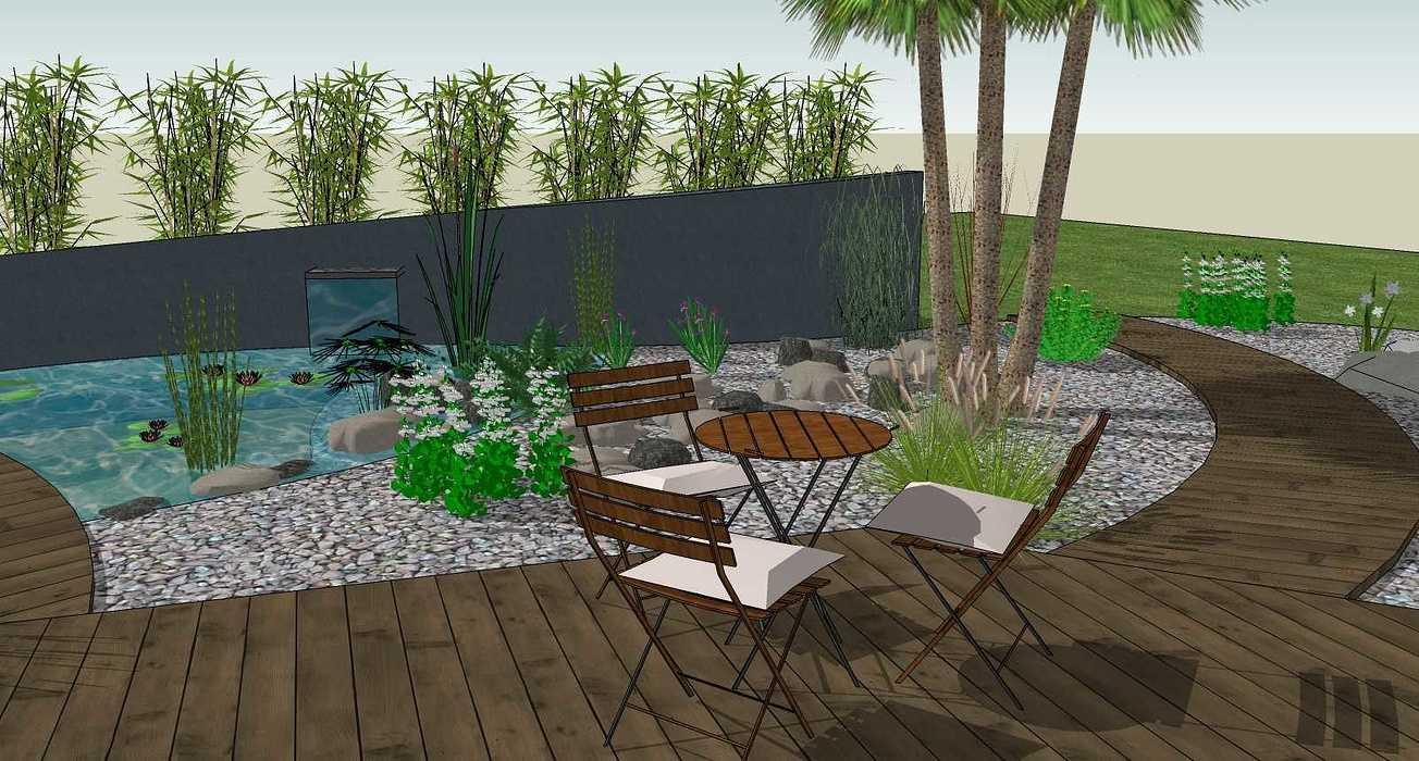 Bassin, terrasse et plantations exotiques jamoteau5