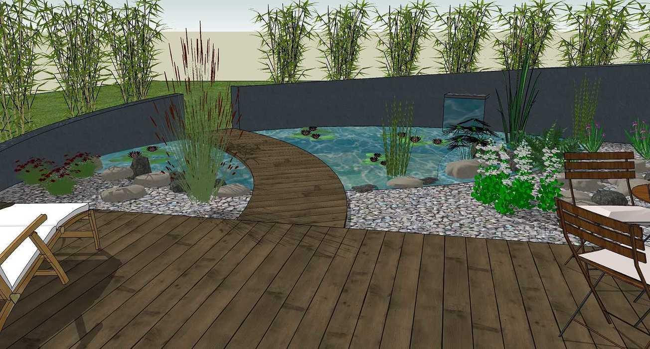 Bassin, terrasse et plantations exotiques jamoteau6
