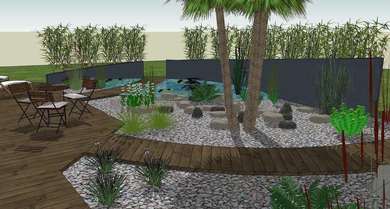 Bassin, terrasse et plantations exotiques jamoteau8