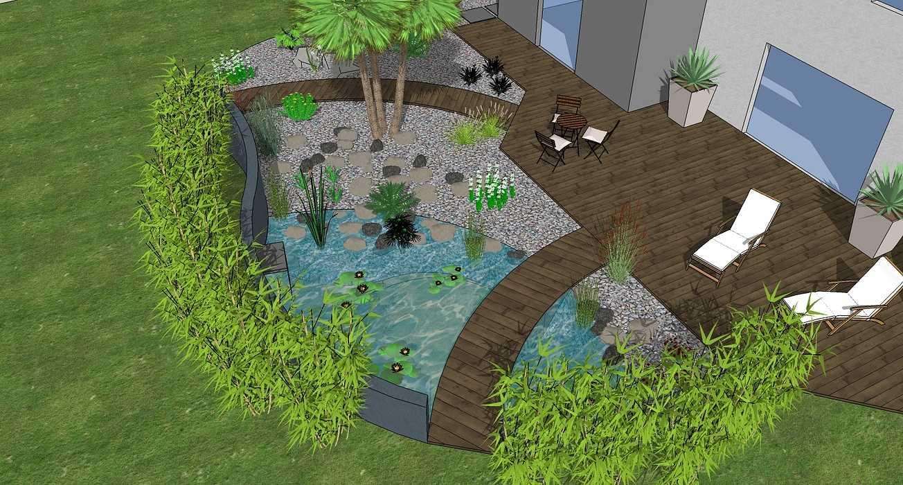 Bassin, terrasse et plantations exotiques 0