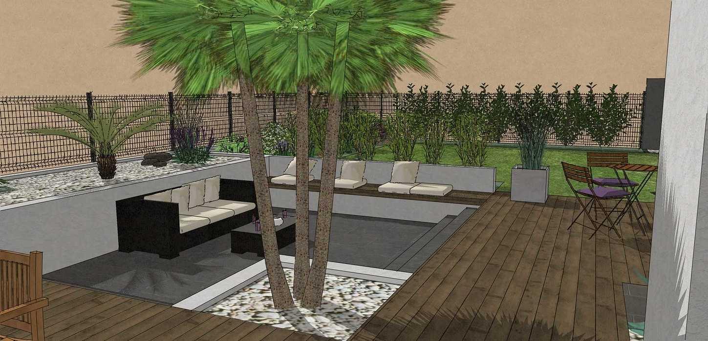 Création complète du jardin dans un style moderne en prenant en compte les vis-à-vis et différents points de vue de la maison, terrasse a double niveau. - PLERIN jolly10