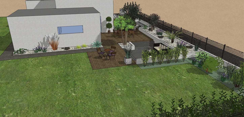 Création complète du jardin dans un style moderne en prenant en compte les vis-à-vis et différents points de vue de la maison, terrasse a double niveau. - PLERIN jolly2